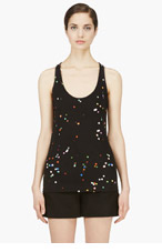GIVENCHY Black & Multicolor Print Silk Tank Top for women
