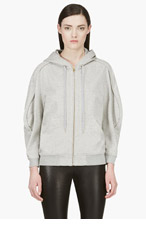 HUSSEIN CHALAYAN Heather Grey Piped Sleeve Hoodie for women