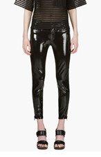 UNDERCOVER BLack High-Gloss Cropped Biker Pants for women