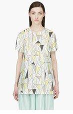 ROKSANDA ILINCIC Grey & Yellow Silk Geometric Baynes T-shirt for women