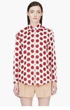 BURBERRY PRORSUM White & Red Polka Dot Blouse for women
