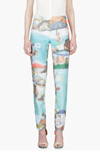 HUSSEIN CHALAYAN Turquoise Pixelated Ribbed Trousers for women