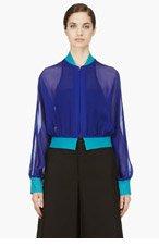 YOHJI YAMAMOTO Blue Silk Crepe Cropped Jacket for women