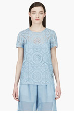 BURBERRY PRORSUM Powder Blue Lace T-Shirt for women