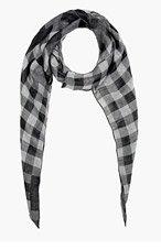 NEIL BARRETT Black & Grey Engineered Lumberjack Bandana Scarf for women