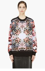 GIVENCHY Pink & Black Floral Print Zip Sweatshirt for women