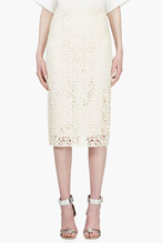 BURBERRY PRORSUM Ivory Lace Overlay Pencil Skirt for women