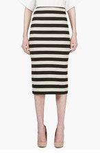 BURBERRY PRORSUM Beige & Black Stripe Pencil Shirt for women