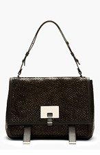 PROENZA SCHOULER Black Leather Woven PS Courrier Bag for women