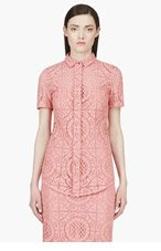 BURBERRY PRORSUM Pink Lace Overlay Blouse for women