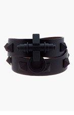 GIVENCHY Black Pyramid Stud Obsedia Wrap Bracelet for women