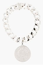 GIVENCHY Silver Oversize Curb Chain Medallion Necklace for women