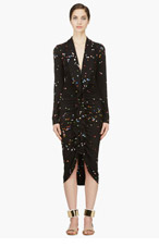 GIVENCHY Black Silk Confetti Ruffle Dress for women