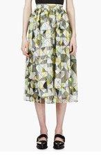 ROKSANDA ILINCIC Yellow Silk Layered Geometric Riven Midi Skirt for women