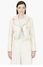YANG LI Cream Leather Biker Jacket for women