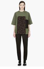 YANG LI Khaki Oversize Jacquard Panel T-Shirt for women