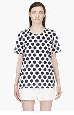 BURBERRY PRORSUM Navy Polka Dot Scoop Neck Tshirt for women