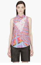 PETER PILOTTO Pink Silk Graphic Print Blouse for women