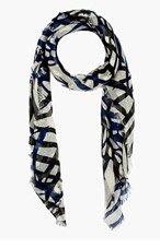 PROENZA SCHOULER Navy & Black Cashmere Silk Print Scarf for women