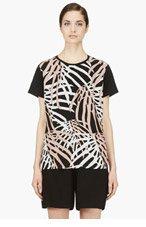 PROENZA SCHOULER Nude & Black Waffle Chiffon Shibori t-shirt for women