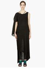 YOHJI YAMAMOTO Black asymmetric Drape Dress for women