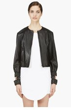 J.W.ANDERSON Black Leather Cut Out Bomber Jacket for women