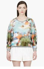 HUSSEIN CHALAYAN Turquoise Blurred Print Crewneck Sweater for women