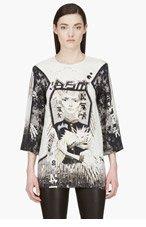 ANNE SOFIE MADSEN Black & Grey Silk CHROMIA Graphic blouse for women