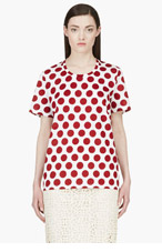 BURBERRY PRORSUM Burgundy Polka Dot Scoop Neck Tshirt for women