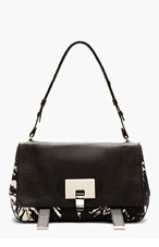 PROENZA SCHOULER Black & White Printed Canvas Courier bag for women