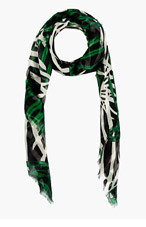 PROENZA SCHOULER Green & Black Cashmere Silk Gauze Scarf for women