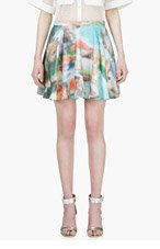 HUSSEIN CHALAYAN Turquoise Pixelated Circle Skirt for women