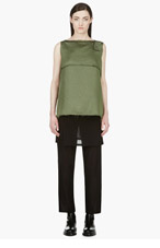 YANG LI Green Oversize Draped Strap Blouse for women