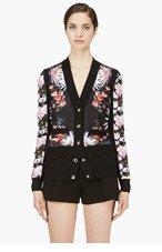 GIVENCHY Black & Pink Silk Cashmere Blend Floral Print Cardigan for women