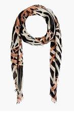PROENZA SCHOULER Orange & Black Cashmere Silk Gauze Scarf for women