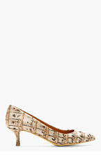 STELLA MCCARTNEY Tan Mock-Croc Jacquard Heels for women