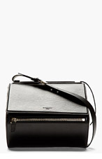 GIVENCHY Black Calfskin Leather Pandora Box Medium Shoulder Bag for women