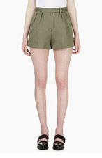 YANG LI Olive Green Brussel Short for women