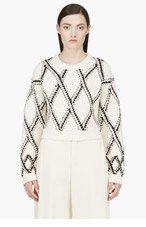 PROENZA SCHOULER Cream & Black Handwoven Cropped Sweater for women