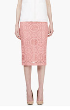 BURBERRY PRORSUM Pink Lace Overlay Pencil Skirt for women