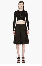 YANG LI Black Cropped Knit Cardigan for women