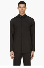 GIVENCHY Black Long Sleeve Collar Stay Shirt for men