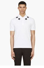 GIVENCHY White Relaxed Fit Number & Stars Polo for men
