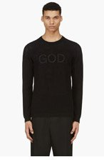 UNDERCOVER Black Open Knit Embroidered Palindrome Sweater for men