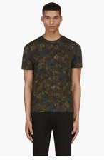 VALENTINO Green Floral Camo Print T-Shirt for men