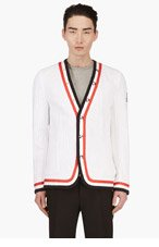 MONCLER GAMME BLEU White Cable Knit Cardigan for men