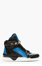 GIVENCHY Blue & Black Leather High-Top Sneakers for men