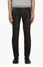 BELSTAFF Black Leather Telford Trousers for men