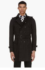 BURBERRY PRORSUM Black Double Breasted Trench Coat for men