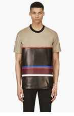 GIVENCHY Tan Leather Striped T-Shirt for men
